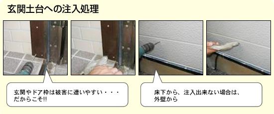 シロアリ 消毒工事 玄関土台への注入処理