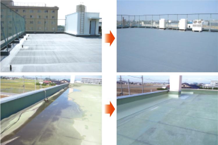 ビル屋上の防水工事